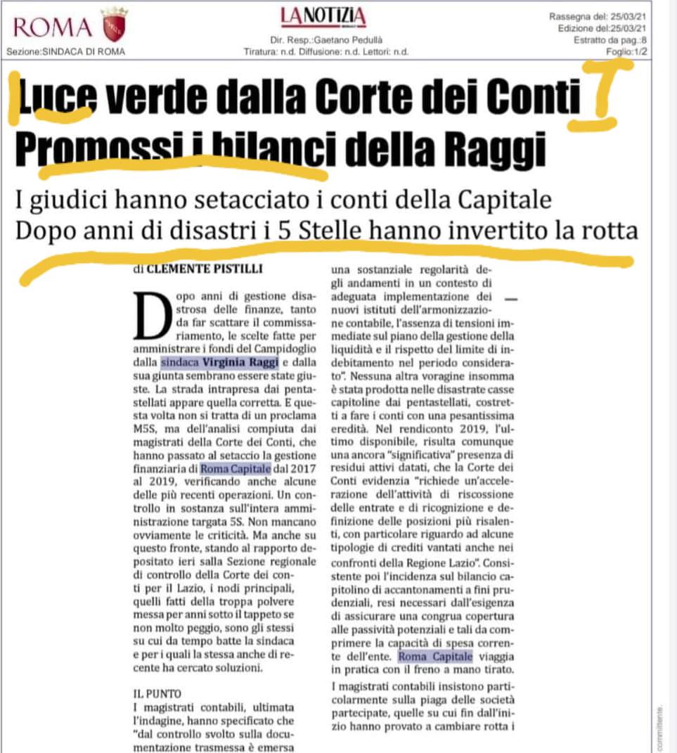 Virginia Raggi ha risanato i bilanci del comune di #roma