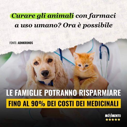 il veterinario può prescrivere medicinali per uso umano per la cura degli animali domestici.